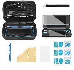 Bestico Zubehör Set für New Nintendo 2DS XL, Beinhalteteine Tasche für Nintendo DS (New 2DS XL/New 3DS XL/3DS/3DS XL/New 3DS)mit 16 Spielpatronen Slots+ Tragegurt+4 Display Schutzfolie+Touchscreen Pen (Kits)