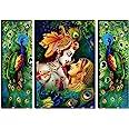 SAF Set of 3 Radha Krishna 6MM MDF self addeshive UV Coated Home Decorative Religious Gift Item 24 inch x 18 inch Painting SA