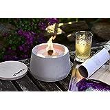 Beske-Betonfeuer mit 'Dauerdocht'   Durchmesser 14cm mit Bauch   Wiederbefüllbare Gartenfackel   'Unendliche' Brenndauer durc