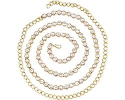 Peora Traditional Jewellery 18K Gold Plated Kundan Waist Belt Kamarband Belly Chain for Women Girls