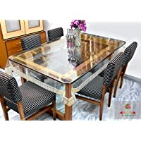 GAURANG PVC 6 Seater Transparent Dining Table Cover with Golden Lace Dinning Table Mat 6 Seater Glass Dinner Set…