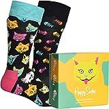 Happy Socks - Juego de 2 pares de calcetines con diseño de gato