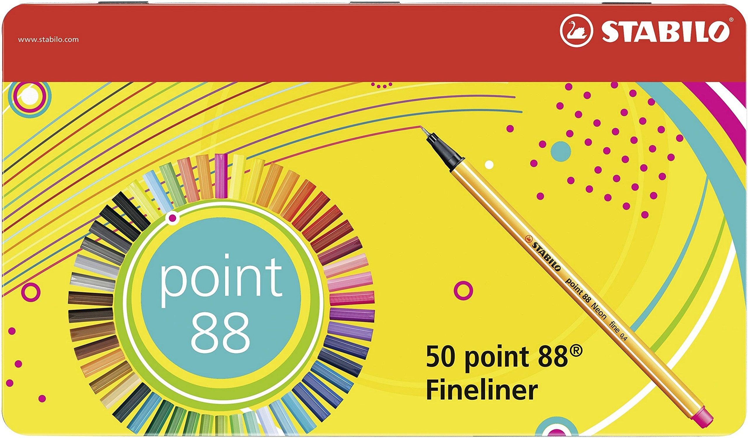 Rotulador puntafina STABILO point 88 – Caja de metal con 50 unidades (46 colores)