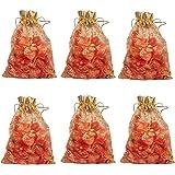 Evisha Net Jari Potli Bag Pouch (Golden, 17 x 13 cm) - Pack of 50 Pieces