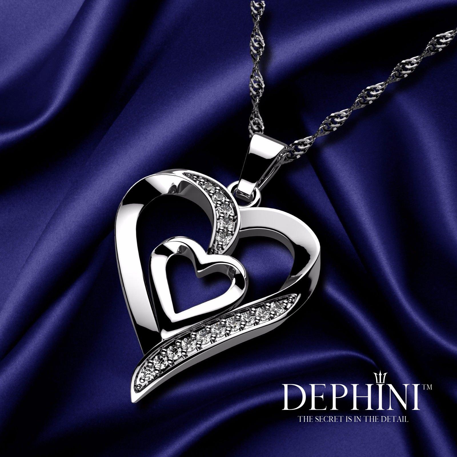 e480bddd04ac DEPHINI - Collar plata corazon - colgante corazon Plata de ley 925 ...