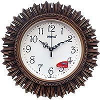 Oreva AQ 6197 Plastic Wooden Look Designer Wall Clock (32.5 x 32.5 x 4.8 cm), Brown