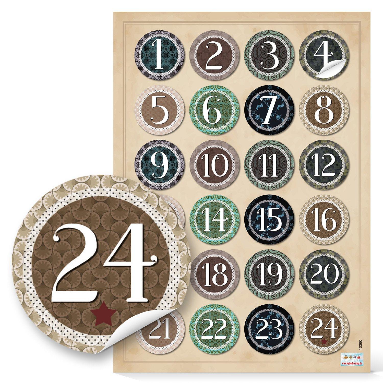 Numeri Per Calendario Avvento.2 X 24 Numeri Per Calendario Dell Avvento Vintage Per Bricolage Adesivi Numeri 4 Cm Beige Verde Nero Naturale Etichette Per Calendario