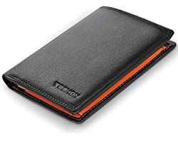 TEEHON® Wallets Mens RFID Blocking Genuine Leather with 12 Credit Card Holders, Coin Pocket, 2 Banknote Compartments, ID Wind