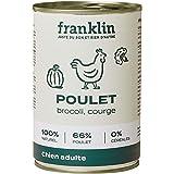 Franklin – Pâtées sans Céréales – Chien Adulte - Naturel - 66% de Viande – Poulet, Brocoli, Courge – 12x400g