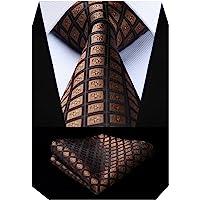 BIYINI Men's Check Tie Handkerchief Jacquard Woven Classic Men's Necktie & Pocket Square Set
