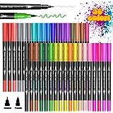 BOIROS Dual Brush Pen per Lettering Colorate, 36 Penne Colorate, Pennarelli a Doppia Punta Fine Grossa, Pennello Midliner Fin