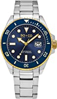 So & Co New York Men's Quartz Watch With Blue Dial Analogue Display and Silver Stainless Steel Bracelet 5025.2
