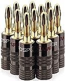 FosPower fiches Bananes (6 Paire / 12 pièces), 24K plaqué Or à Double vis Jack Speaker Banana Connectors pour Haut-Parleur, Plaque Murale et Plus (6 Rouges et 6 Blancs)