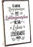 TypeStoff Holzschild mit Spruch – BEGEGNUNGEN MIT Lieblingsmenschen – im Vintage-Look mit Zitat als Geschenk und…