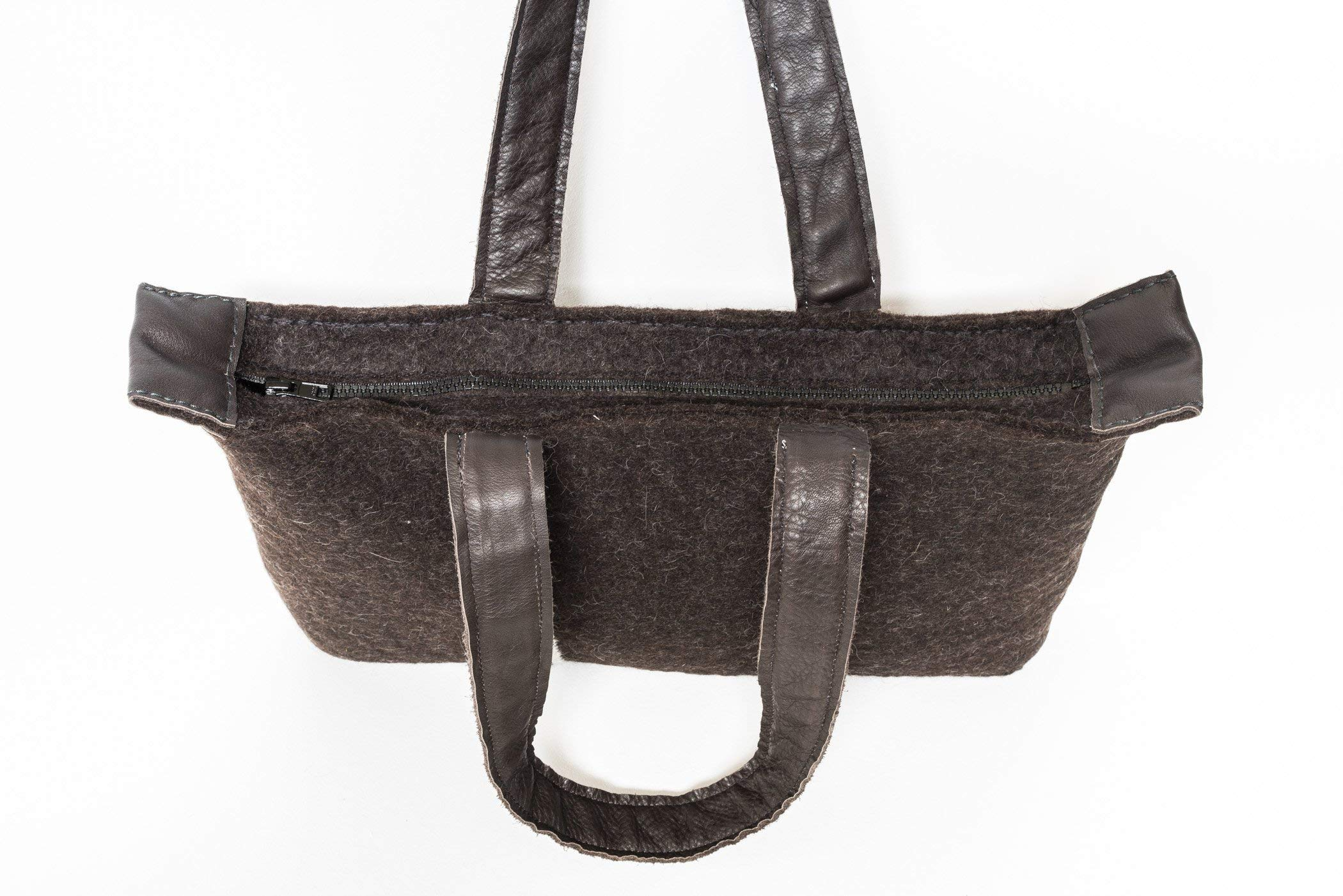 Felted tote bag - with handwoven handles with leather detail - handmade in Finnish Lapland from Finnish wool - handmade-bags