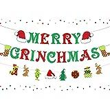 Merry Grinchmas Banner Grinch Decoraciones navideñas Vacaciones navideñas Suministros para fiestas de Nochevieja Decoración d