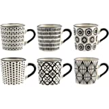 Confezione 6 tazze caff vhera in stoneware decoro assortito