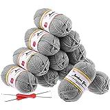 Fuyit Set I Fil à Tricoter 600g (12x50g) avec 2 Crochet Gratuit pour Tricot Idéal pour Tout Projet de Tricot et de Crochet(Gr