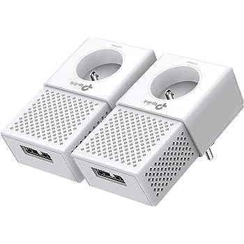 TP-Link CPL 1000 Mbps avec 2 Ports Ethernet Gigabit et Prise Intégrée, Kit de 2 - Solution idéale pour profiter du service Multi-TV à la maison (TL-PA7020P KIT(FR))