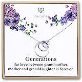 Collana in argento Sterling a 3 cerchi, collana di generazione, collana per nonna, madre, figlia, famiglia, regalo per nonna,