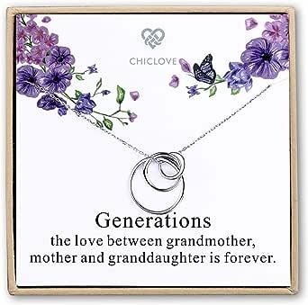 Collana in argento Sterling a 3 cerchi, collana di generazione, collana per nonna, madre, figlia, famiglia, regalo per nonna, madre e figlia (collana di generazione)