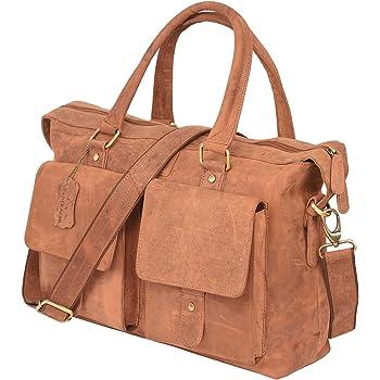 LEADERACHI Women's Hunter Leather Laptop Briefcase Bag (Brown)