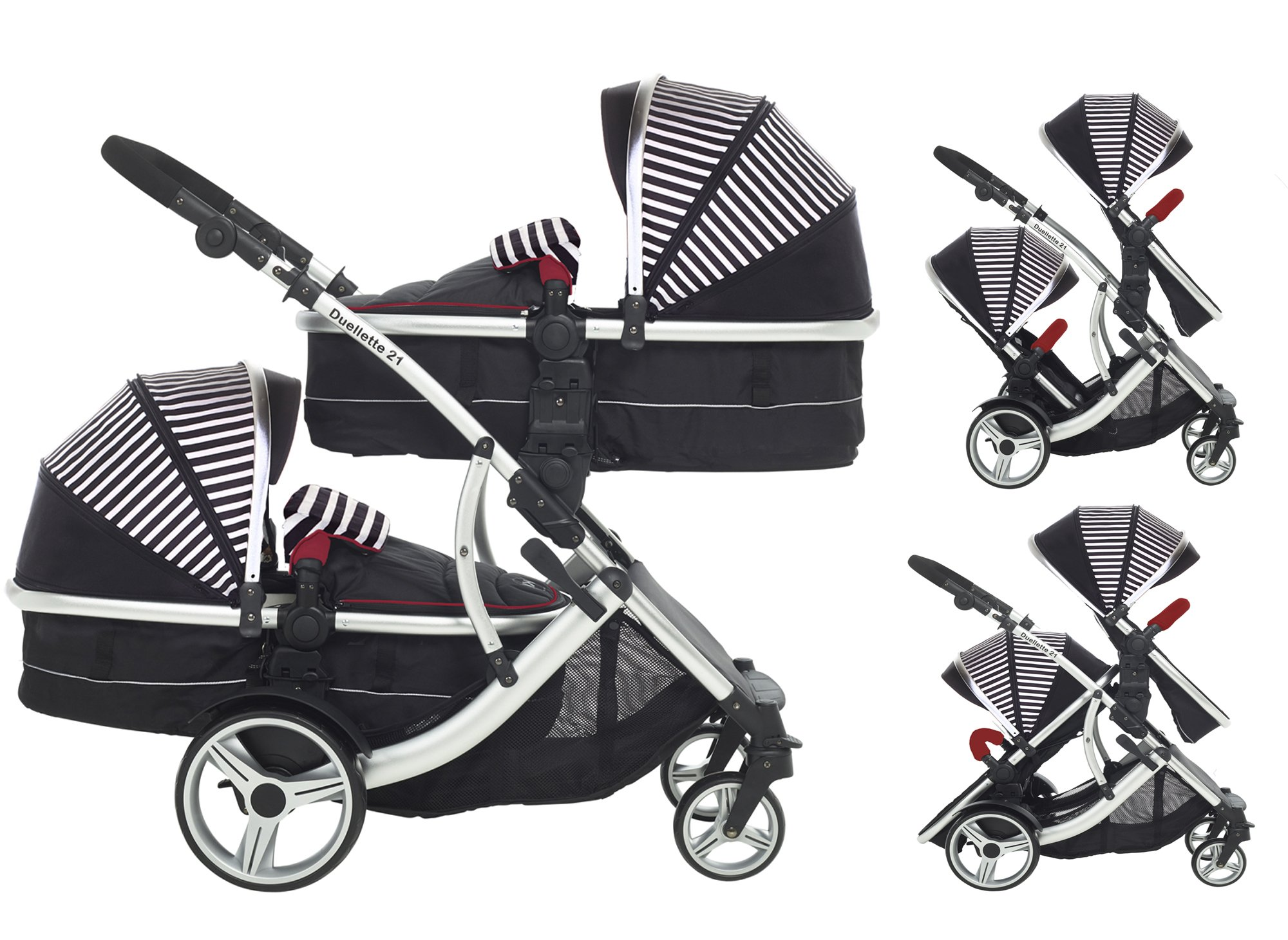 Kids Kargo Duellette Combi Tandem Double Twin pushchair (Oxford Stripe) for Newborn Twins Kids Kargo Fully safety tested Compatible with car seats; Kids Kargo, Britax Baby safe or Maxi Cosi adaptors. Versatile. Suitable for Newborn Twins:  carrycots have mattress and soft lining, which zip off. Remove lining and lid. 1