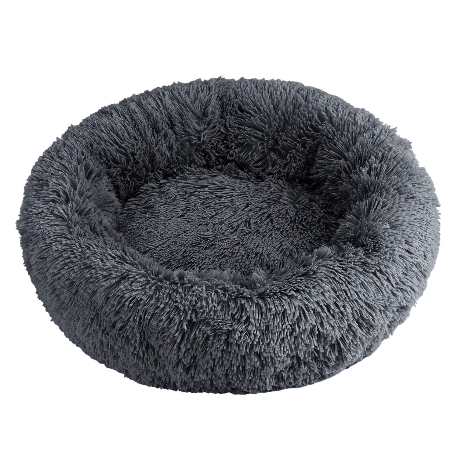 LONTG Calming Pet Bed Cushion Fluffy Plush Cat Bed Puppy Donut Cuddle Bed Cozy Pet Nest Pet Sofa Round Basket Bed Sleeping Bed Mat For Small Medium Dogs Cats Kitten Non-Slip Bottom Washable 55cm