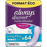 Always Discreet Serviettes, Long, Plus, 64 Serviettes, Ultra Fin, Format Éco, Pour Fuites Urinaires / Incontinence
