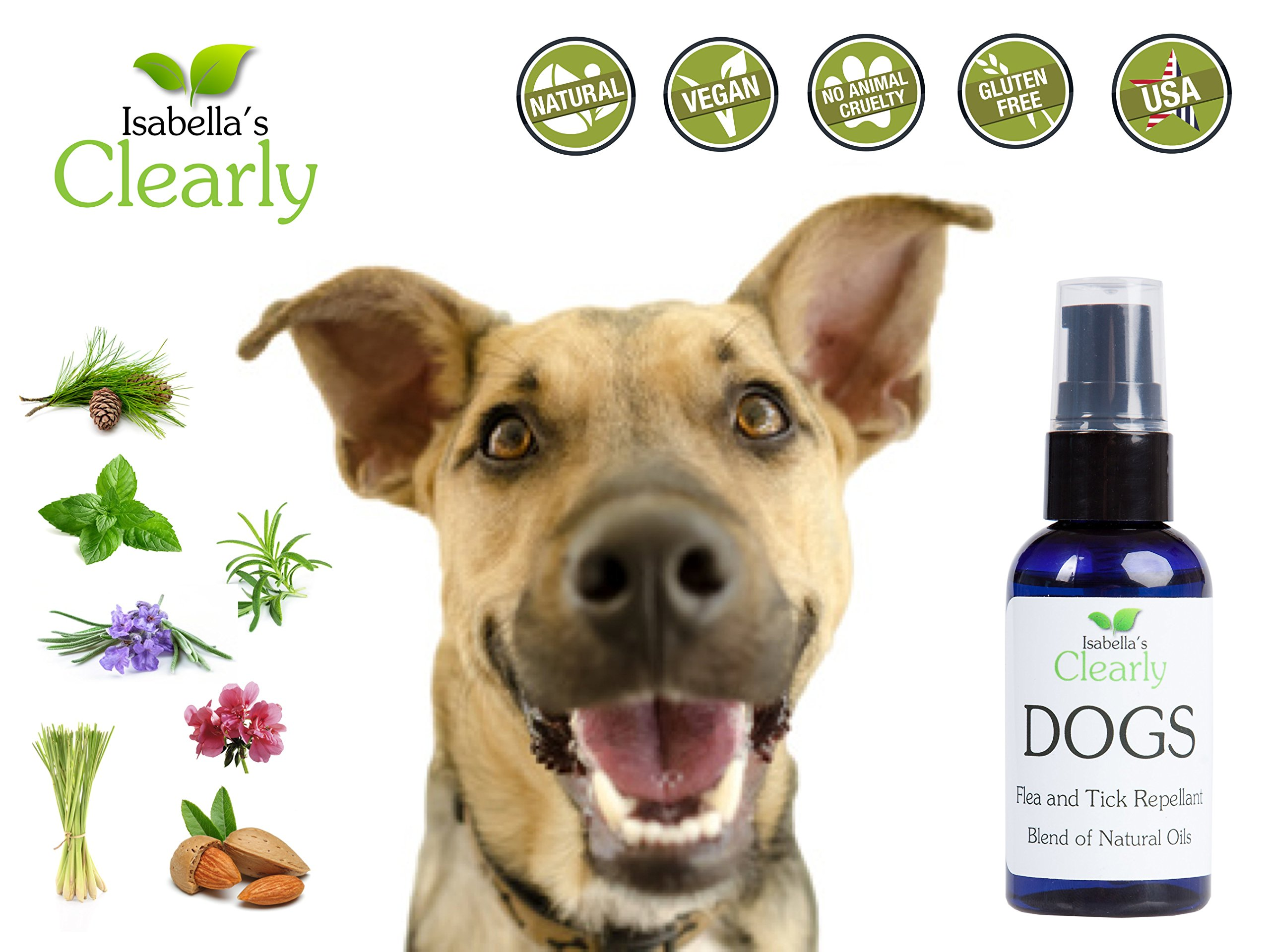 Isabella's Clearly DOGS Natural & Safe Formula Proven to Repel Ticks and Fleas and Keep them Away from your Pet. Effective therapeutic oils including Cedarwood, Peppermint, Lavender, Lemongrass. 60ml 3