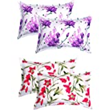 """BSB HOME® Cotton 4 Piece Cotton Pillow Cover Set - 20""""x30"""", White and Red"""