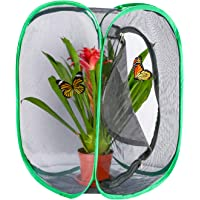 Hautton Butterfly Habitat Cage Enclosure, Pop-up Collapsible Mesh Cage Terrarium for Caterpillars Stick Insect -Black