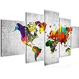 Photo Carte du monde Décoration Murale 200 x 100 cm Toison - Toile Taille XXL Salon Appartement Décoration Photos d'art Blanc 5 Parties - 100% MADE IN GERMANY - prêt à accrocher 105151c