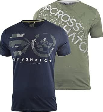 Crosshatch Mens T-Shirt 2 Pack Tee Top Summer Designers Crew Neck T-Shirt