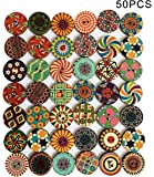 50PCS Large Button Wooden Buttons 25mm for Crafts Wood Buttons 1 Inch Assorted Vintage Round Wooden Flower