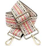BENAVA Taschengurt Rosa Beige Schulterriemen für Taschen 75-135cm mit Karabiner in Farbe Gold | Schultergurt für Taschen mit