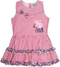 Planet Superheroes Peppa Pig Hello with Checks Pattern Pink Dress for Girls