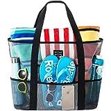 SoHo Collection Mesh Strandtasche - Spielzeugtasche - Große, leichte Markt-, Lebensmittel- & Picknicktasche mit übergroßen Ta