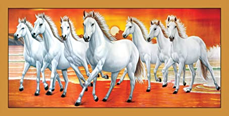 Graphics World White 7 Horse vastu Painting, Wall Sticker, Wallpaper, Wall Art, Natural Photo, Special for vastu (36 x 18 inch)