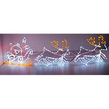 Christmas Concepts 2.1m Santa Sleigh + 2 Reindeer Flashing Silhouette With  LED Lights - Christmas 664f588c9