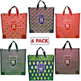 DOUBLE R BAGS Cotton Medium Reusable Canvas Grocery Bags - Pack of 6