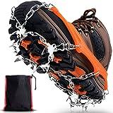 Winline Crampones, 19 Garras de Dientes Crampones Cubierta Antideslizante de Zapatos con Cadena de Acero Inoxidable para Excu