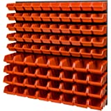 Stapelboxen wandrek 772 x 780 mm - opslagsysteem opbergbakken lade plank - wandplaten 82 stuks oranje dozen