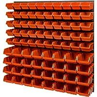 Set di contenitori impilabile di parete, 772 x 780 mm, scaffalatura a vista, 82 pezzi