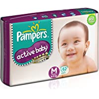 Pampers Active Baby Diapers - 62 Pieces (Medium)