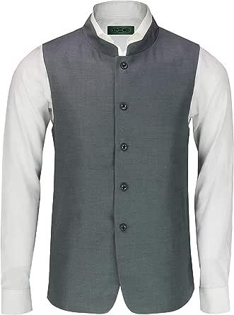 Mens Vintage Chinese Grandad Collar Waistcoat Retro Indian Nehru Beatle Style[INWC,38,Grey]