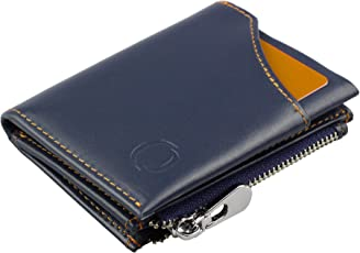 Smart Wallet mit Münzfach - Mini-Geldbörse aus Echtem Leder mit RFID Schutz für Damen und Herren, Smarter Geldbeutel und Karten-Brieftasche