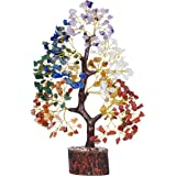 PREK Seven Chakra Crystal Gemstone Bonsai Money Tree with Golden Wire and 300 Beads Figurine Standard Size - Multicolour, 1 P