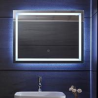 Aquamarin® Miroir de Salle de Bain LED - 120 x 80 cm, CEE: A++, Tactile, Mural, 3 en 1 Éclairage Blanc Froid/Chaud…
