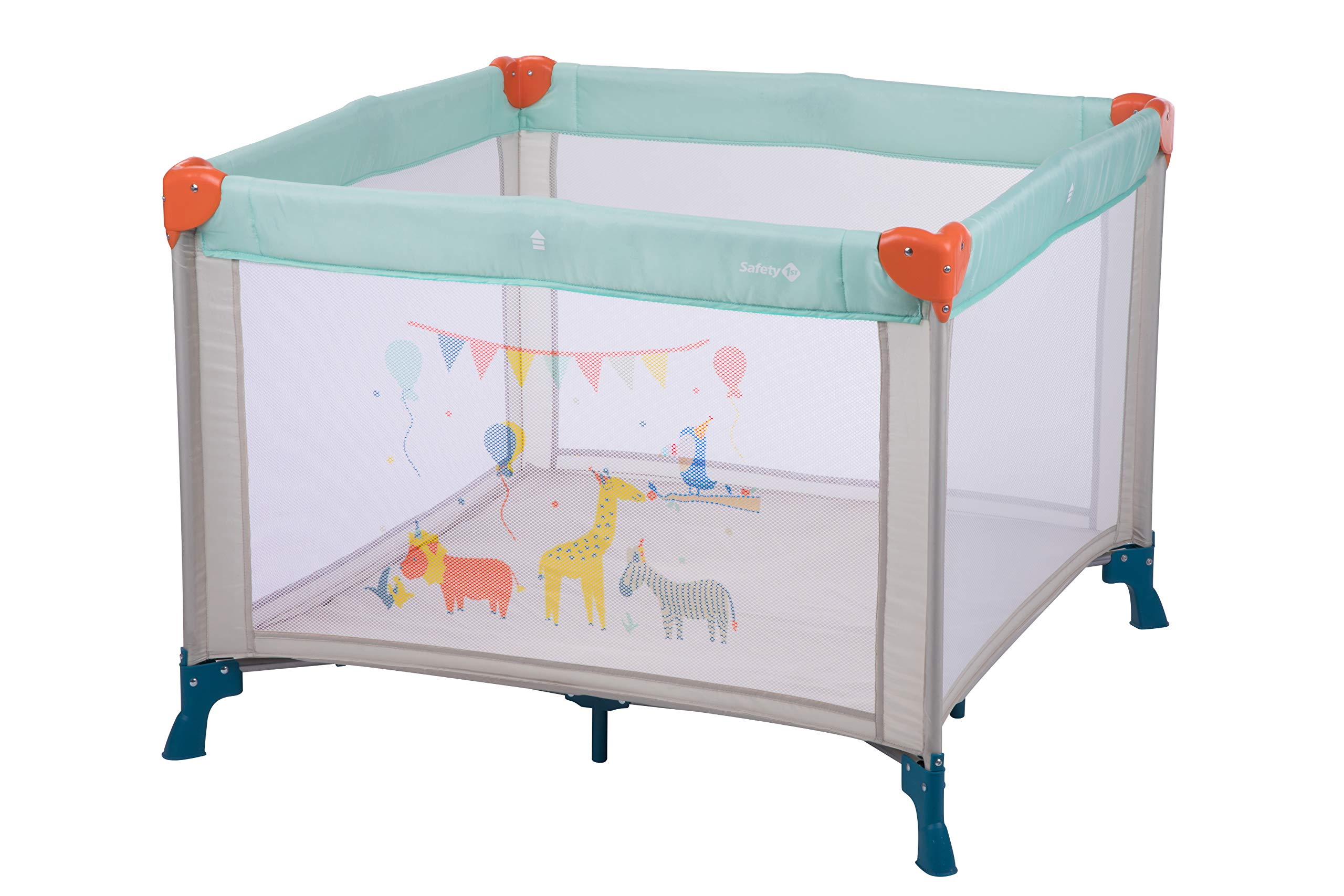 Safety 1st Circus Compact Travel Cot Safety 1st Spacious play area (1 m x 1 m) 2 uses: in playpen or in travel bed 4 large windows nets to see baby 1